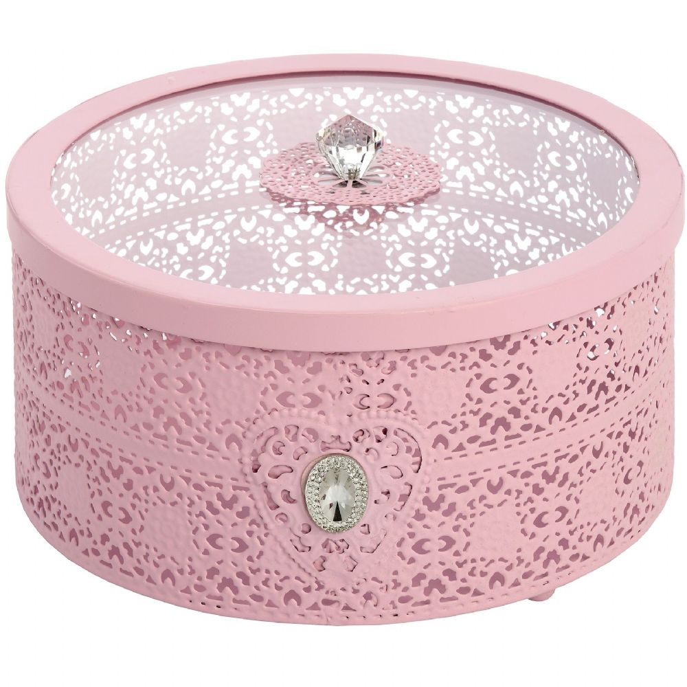 Pink Metal Lace Storage Box - Vintage Style round dressing table or kitchen storage tin